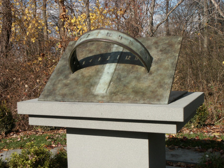 photo of garden sundial at Rockland Center for the Arts by Robert Adzeima